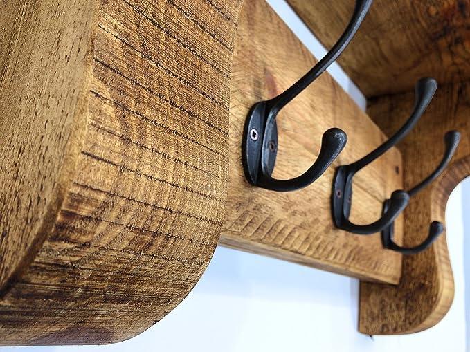 Regenerado estilo Vintage perchero con estante hecho a mano ...