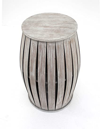 Merveilleux HomeRoots Rustic Style Wooden Barrel Shaped End Table