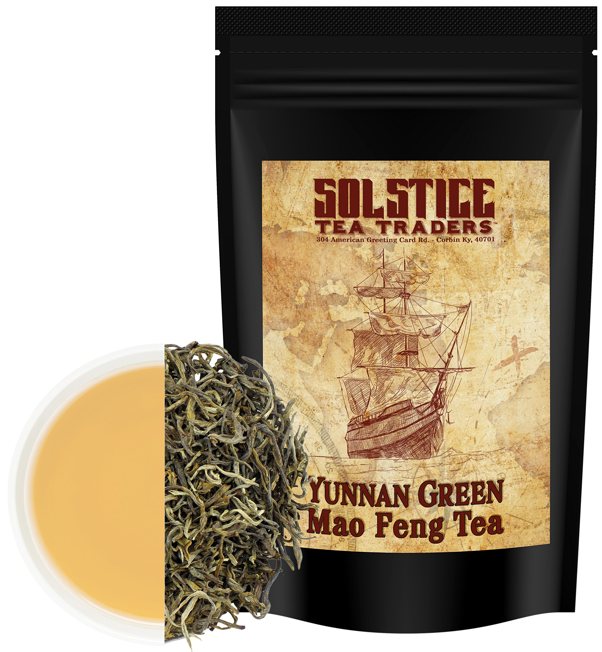 Yunnan Green Mao Fang Tea Loose Leaf (8-Ounce Bulk Bag); Chinese Spring Tea from the Home of Tea by Solstice Tea Traders