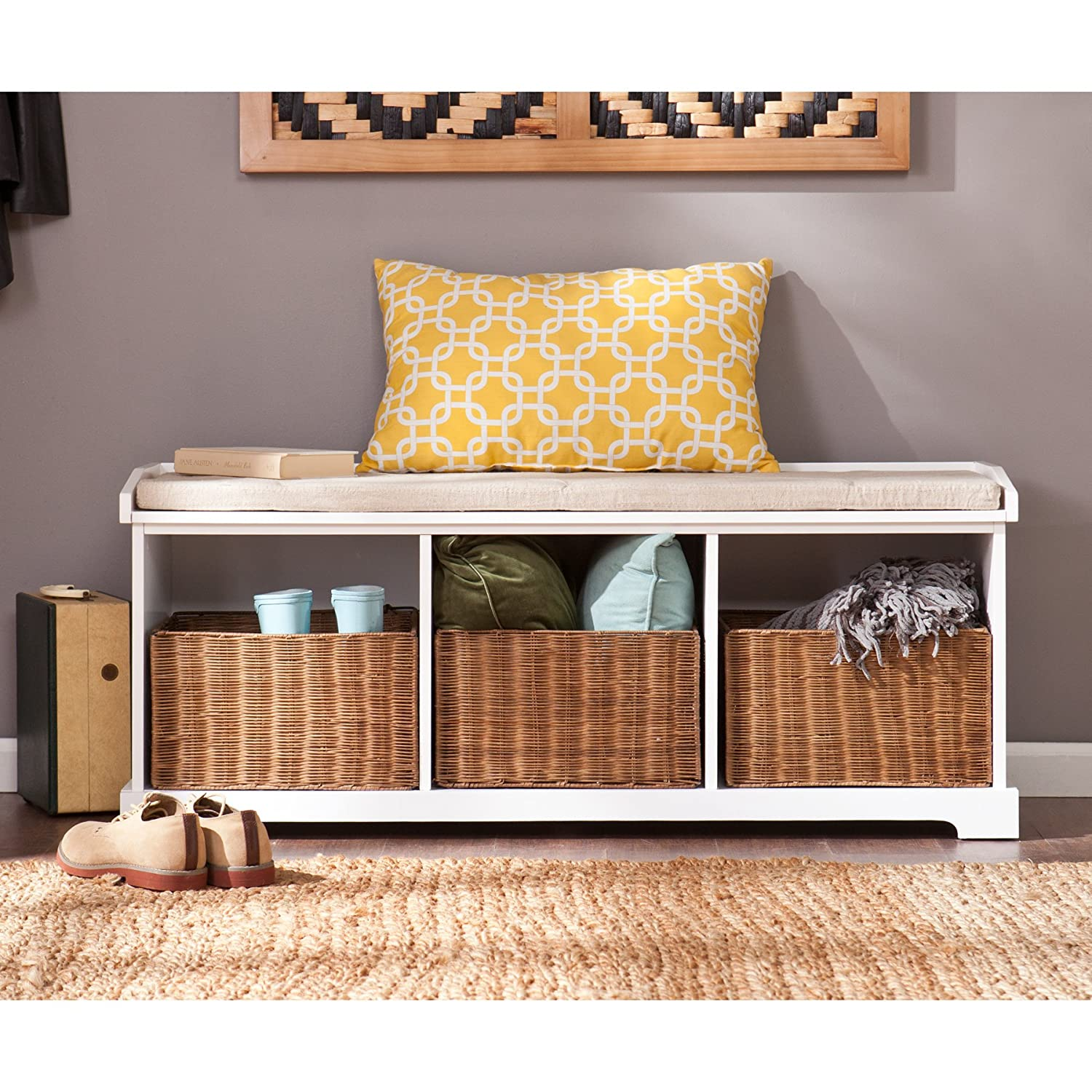 Design Entryway Bench amazon com southern enterprises loring entryway storage bench in white kitchen dining