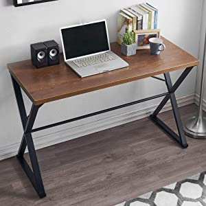 Homebazzar Home Office Desks, Modern Industrial Computer Desk, Minimalist Style Writing Desk, 47 Inches Work Table for Study,Apartment, Dormitory (Retro Brown)