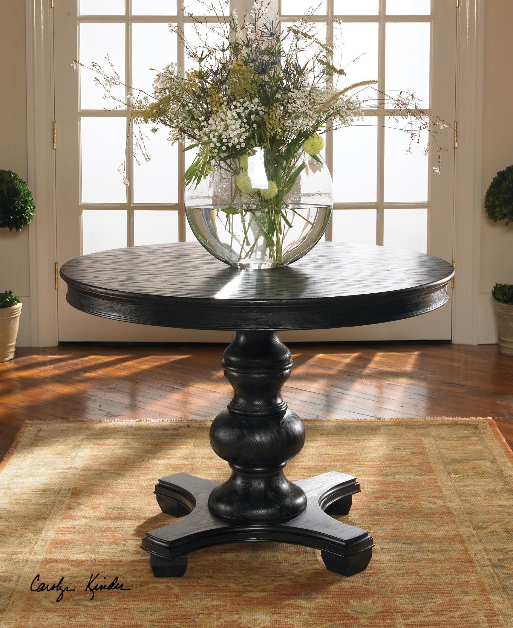 Elegant Classic Round Black Wood Entry Table by Uttermost (Image #2)