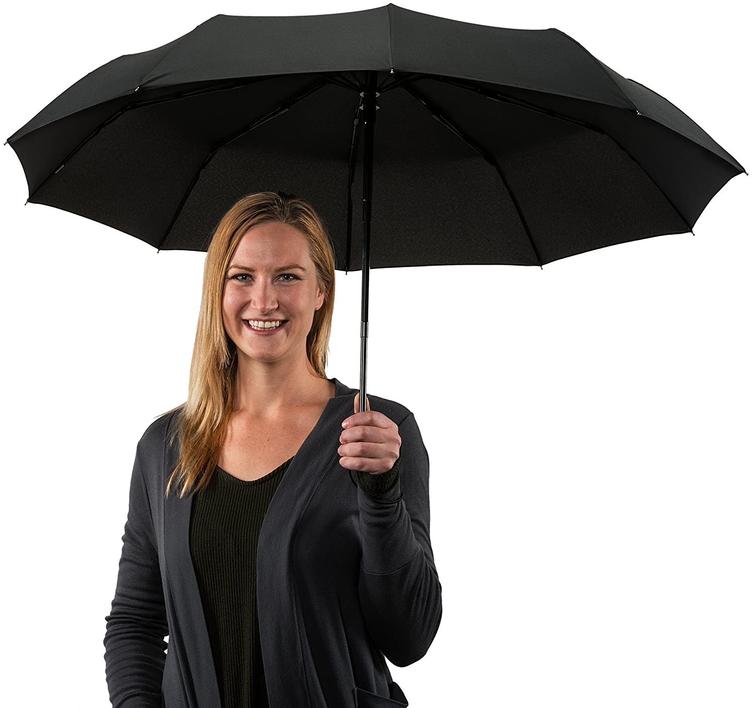 Amazon.com: Crown Coast Black Travel Umbrella - 60 MPH Windproof Lightweight for Men Women and Kids, Compact Umbrellas: Clothing