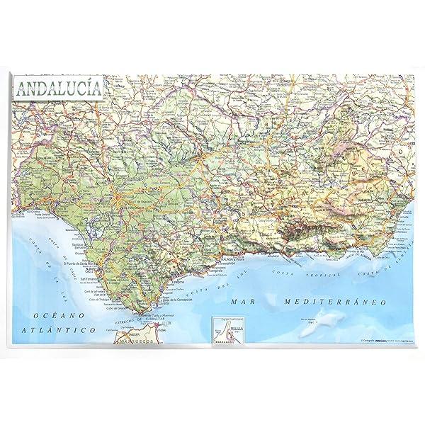 Mapa en relieve de Andalucía: Escala 1:2.400.000: Amazon.es: All ...
