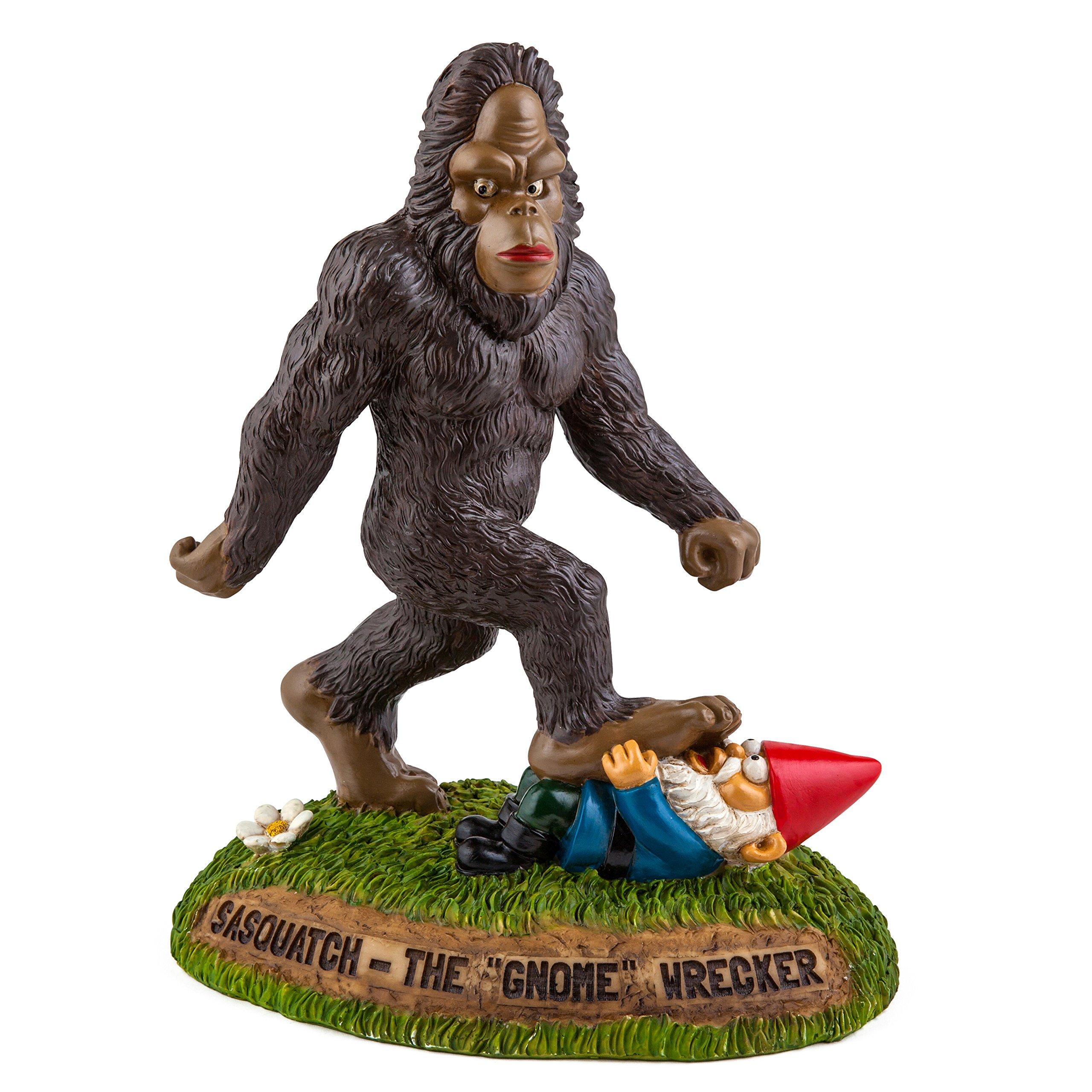 BigMouth Inc. Sasquatch the Gnome Wrecker Garden Statue, 9-inch Tall Funny Lawn Gnome, Perfect for Gardens