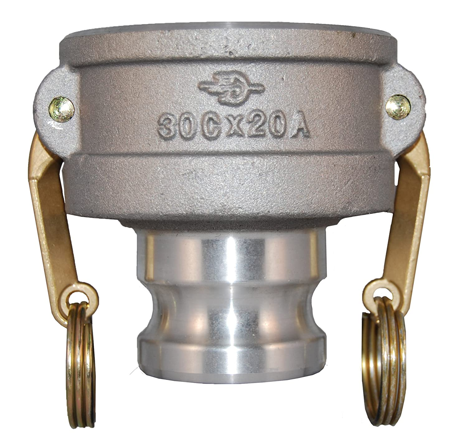 PT Coupling CXA Series 40CX20A Aluminum Reducer Cam and Groove Hose Fitting, CXA Short Reducer, Brass (HB) Cam Arms, 4' Coupler x 2' Adapter 4 Coupler x 2 Adapter