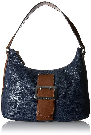 Damen Lee Hobo Bag Schultertasche, Schwarz (Black Comb), 12x28x32 cm Tamaris