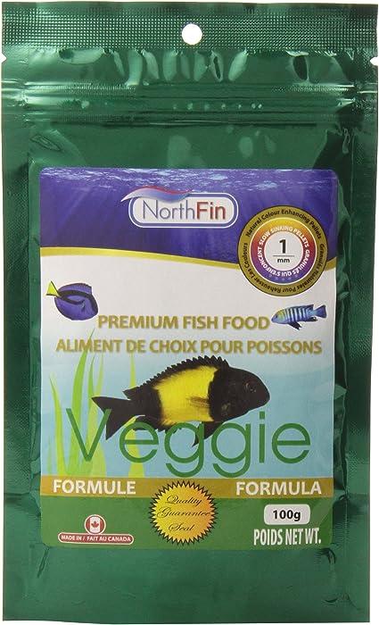 Northfin Veggie Formula Premium Fish Food, 1 Millimeter Sinking Pellets, 100 Grams Per Pack