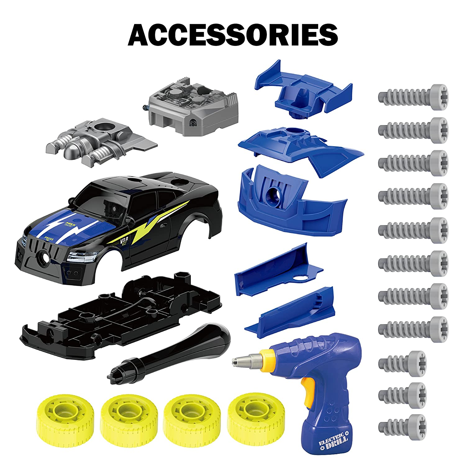 GILOBABY Take Apart Racing Car Christmas Gifts for Kids STEM Toys 26 Pieces Assembly Car Toys with Drill Tool Lights and Sounds