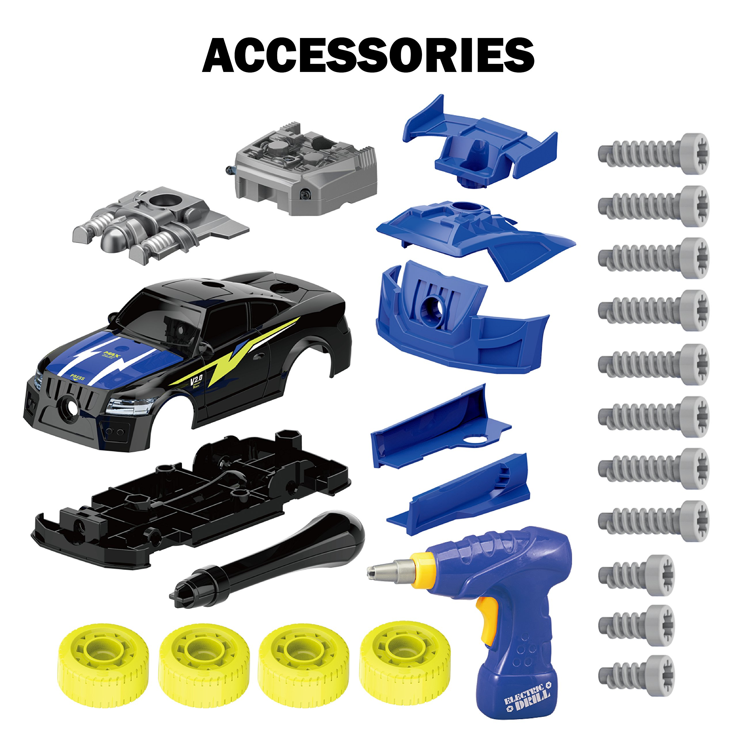 Maxxrace Take Apart Racing Car, STEM Toys 26 Pieces Assembly Car Toys with Drill Tool, Lights and Sounds, Gifts for Kids Aged 3+ by Maxxrace (Image #6)