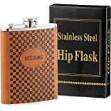 Heesung Stainless Steel Hip Flask Wrapped Brown Leather With Oval Logo, Whiskey Hip Flask And Liquor Flask 8 OZ ,Metal Flask Attached Screw on Cap .