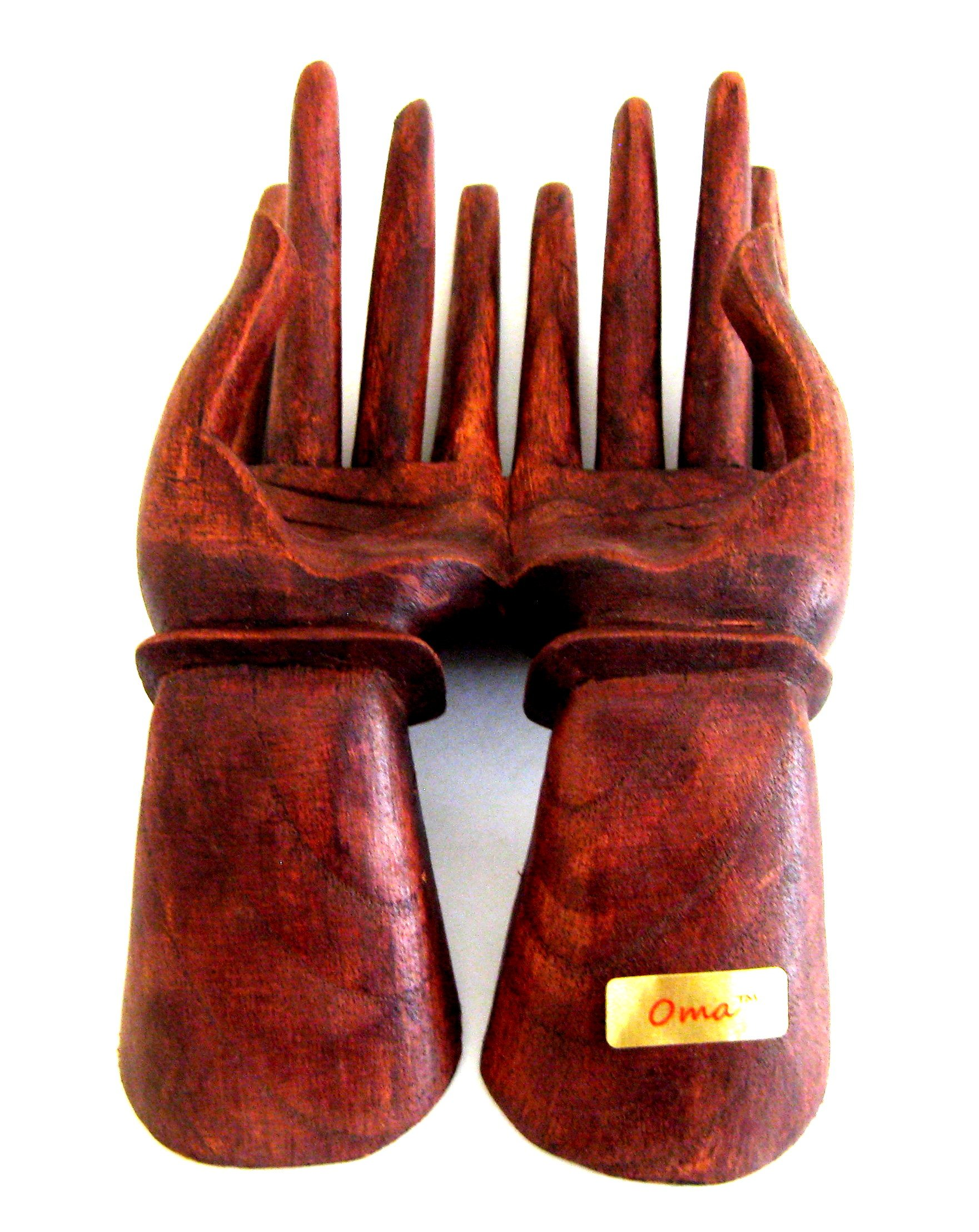 Praying Hands Wood Hand Shaped Statue Ring Jewelry Display Holder - OMA BRAND