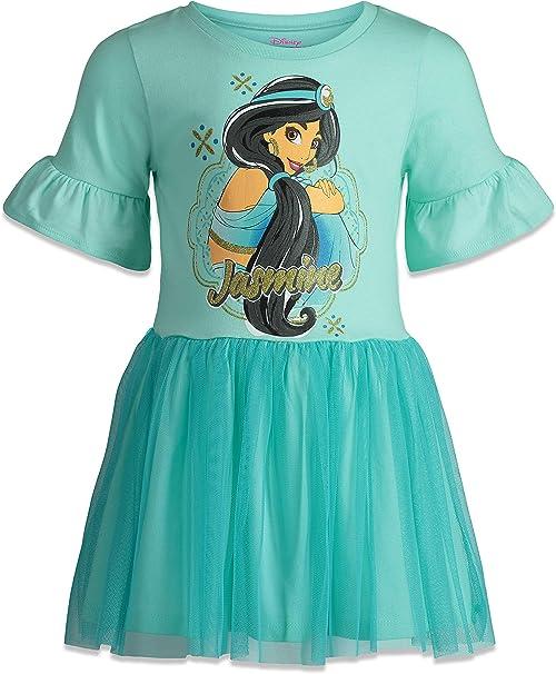 Disney Princess Jasmine - Vestido para niña con Mangas de Volantes ...