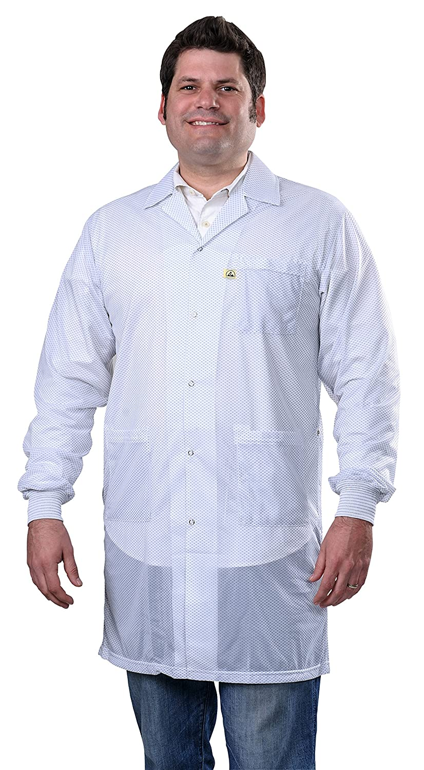 DESCO 73639 Smock Statshield Labcoat with Cuffs 42 Length 6X-Large White