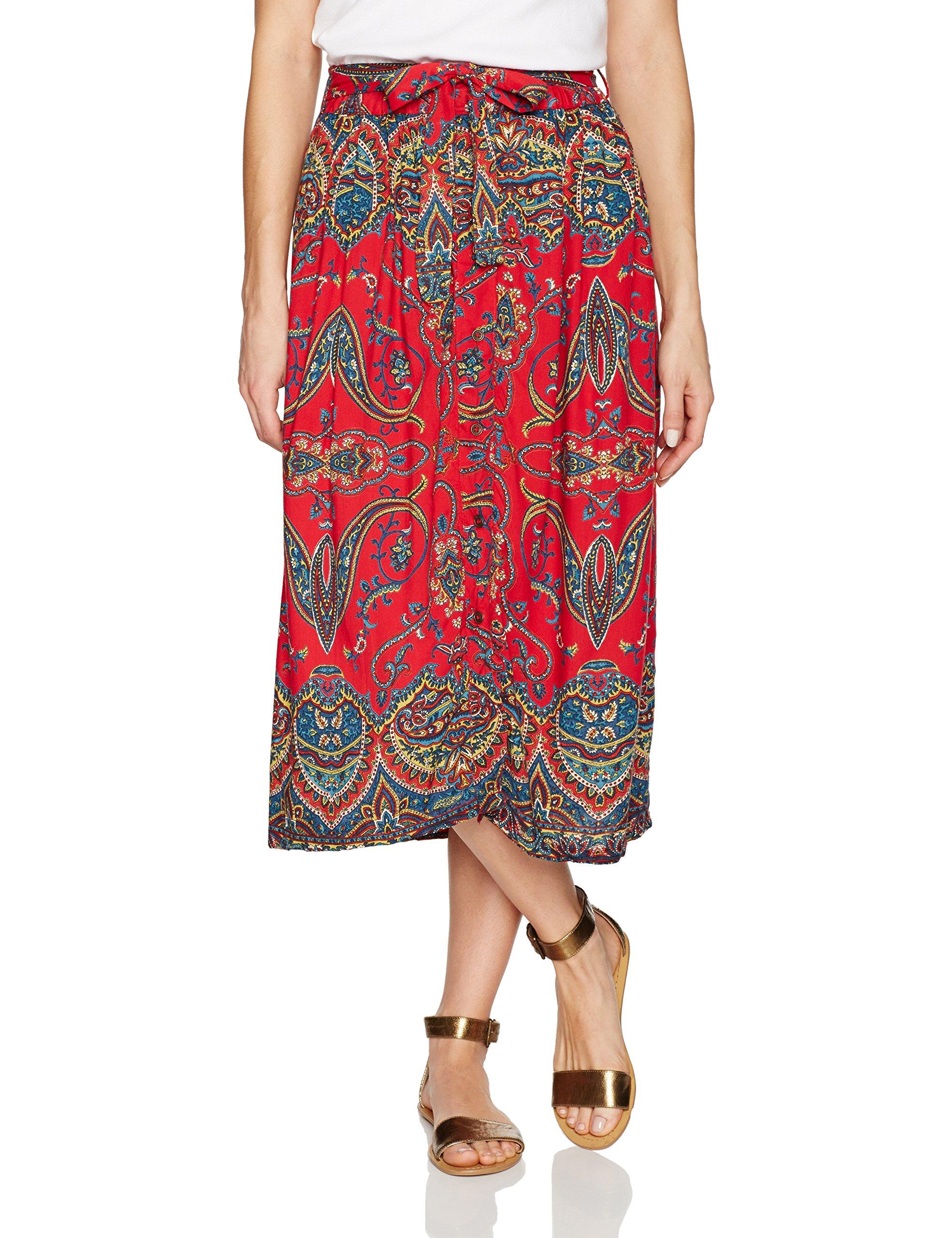 Angie Women's Printed Skirt with Tie Waist, Red, Medium