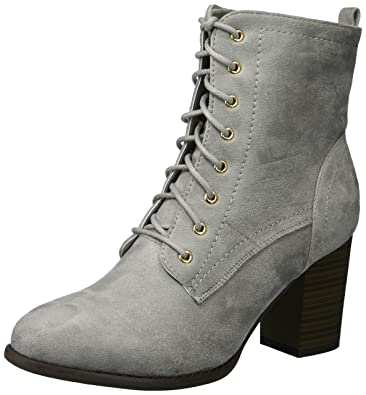 c06cceb64272b Womens Lace-up Stacked Heel Faux Suede Booties Grey