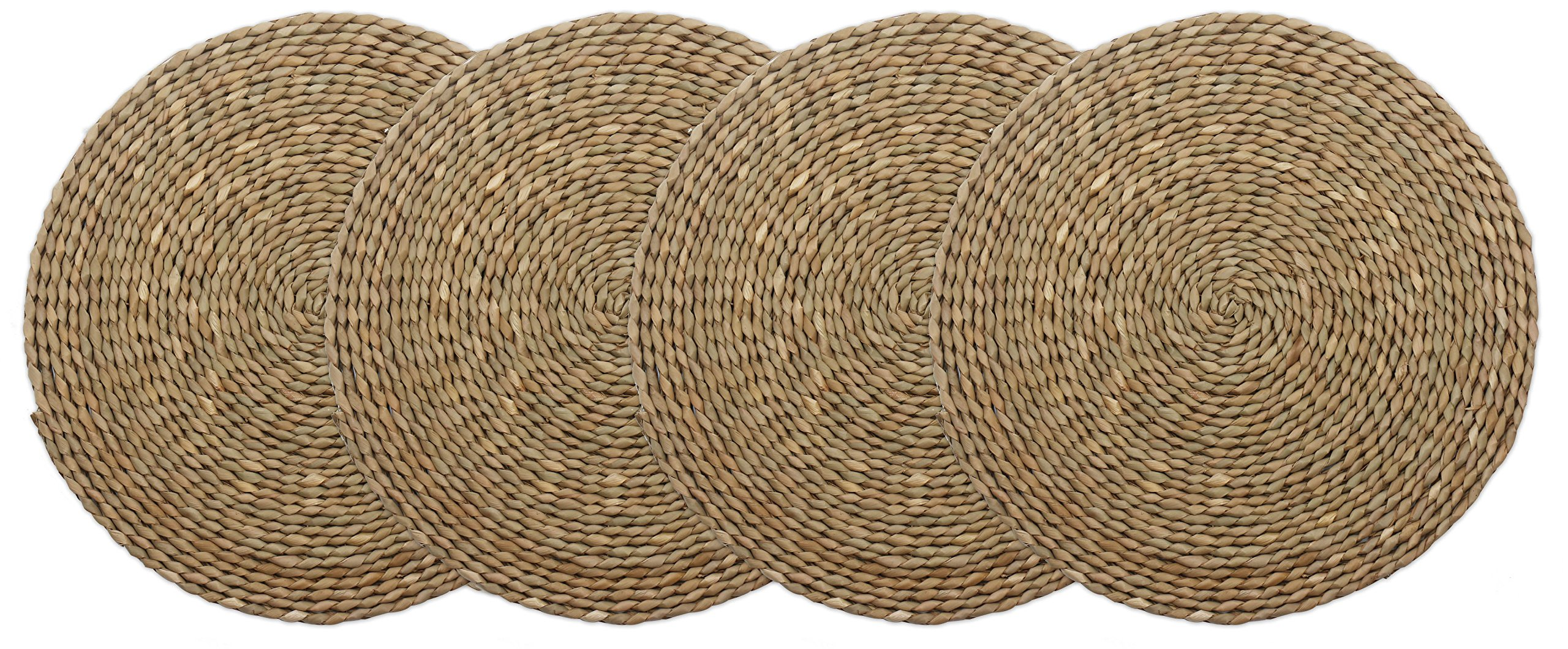 wellhouse Wooden Round Braided Mat Natural Handmade Straw Woven Placemat Insulation Resuable Non-Slip Pad (15.7Inch, Miao Grass-4)