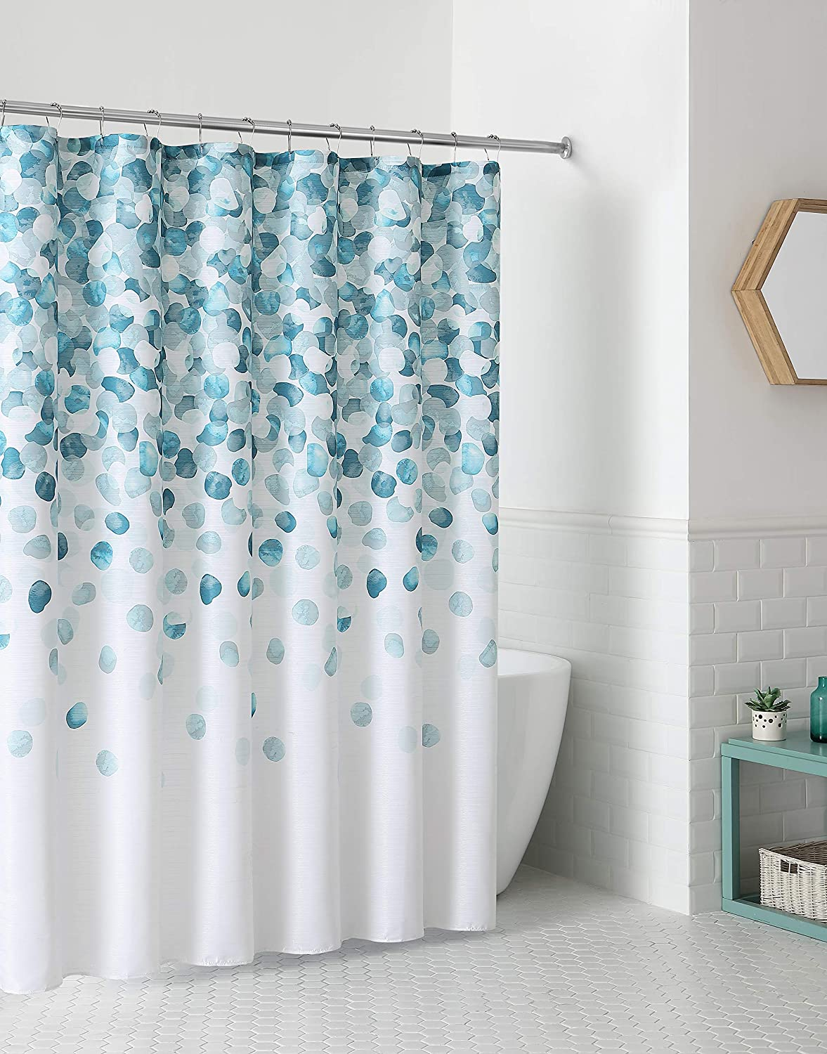 Vcny Modern Fabric Shower Curtain Geometric Cascading Pattern Of Blue Teal Turquoise Aqua And White Amazon Co Uk Kitchen Home
