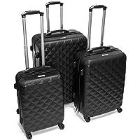 ALEKO LG52BK ABS Luggage Suitcase Set for Travel with Combo Lock, 3 Piece, Diamond Pattern, Black