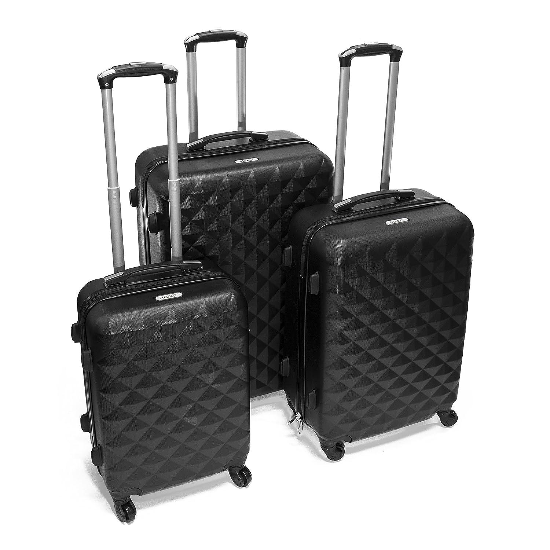 250846e07d68 ALEKO LG52BK ABS Luggage Suitcase Set for Travel with Combo Lock, 3 Piece,  Diamond Pattern, Black