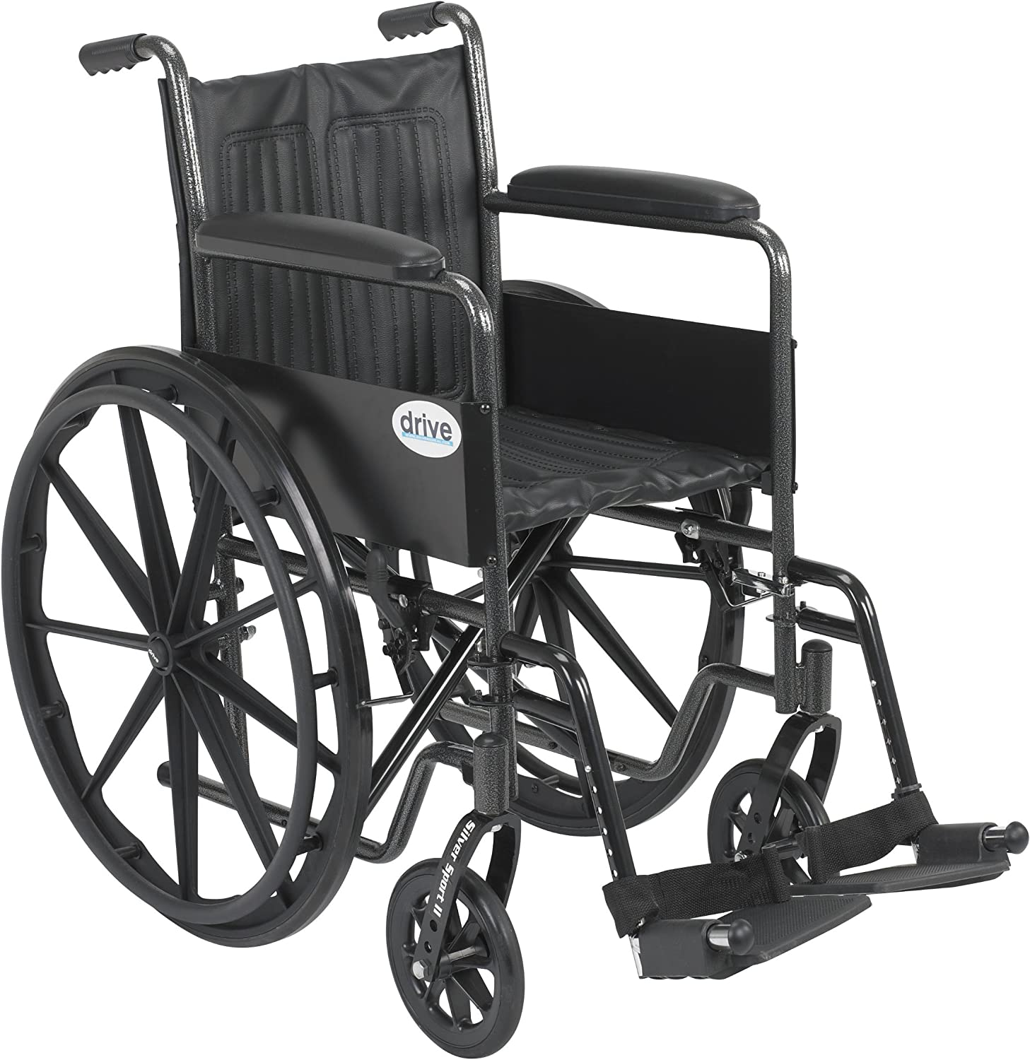 Drive Medical Silver Sport 2 Wheelchair with Various Arms Styles and Front Rigging Options, Black, 18 Inch 91vzCRv6FCL