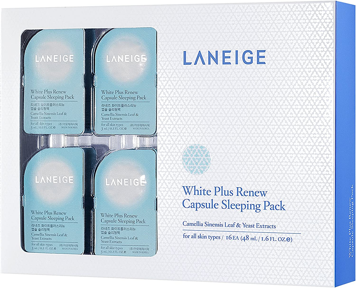 Korea Cosmetics[LANEIGE]2014 January Released Item from LANEIGE WHITE PLUS RE CAPSULE SLEEPING PACK 16ea;100% Authentic;Best Selling Item;2014 Without Box: Amazon.es: Belleza