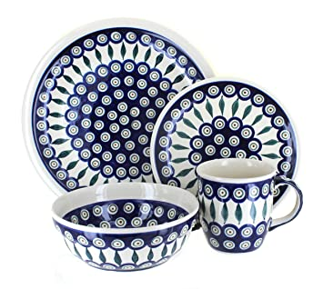 Polish Pottery Peacock 16 Piece Dinner Set  sc 1 st  Amazon.com & Amazon.com: Polish Pottery Peacock 16 Piece Dinner Set: Dinnerware ...