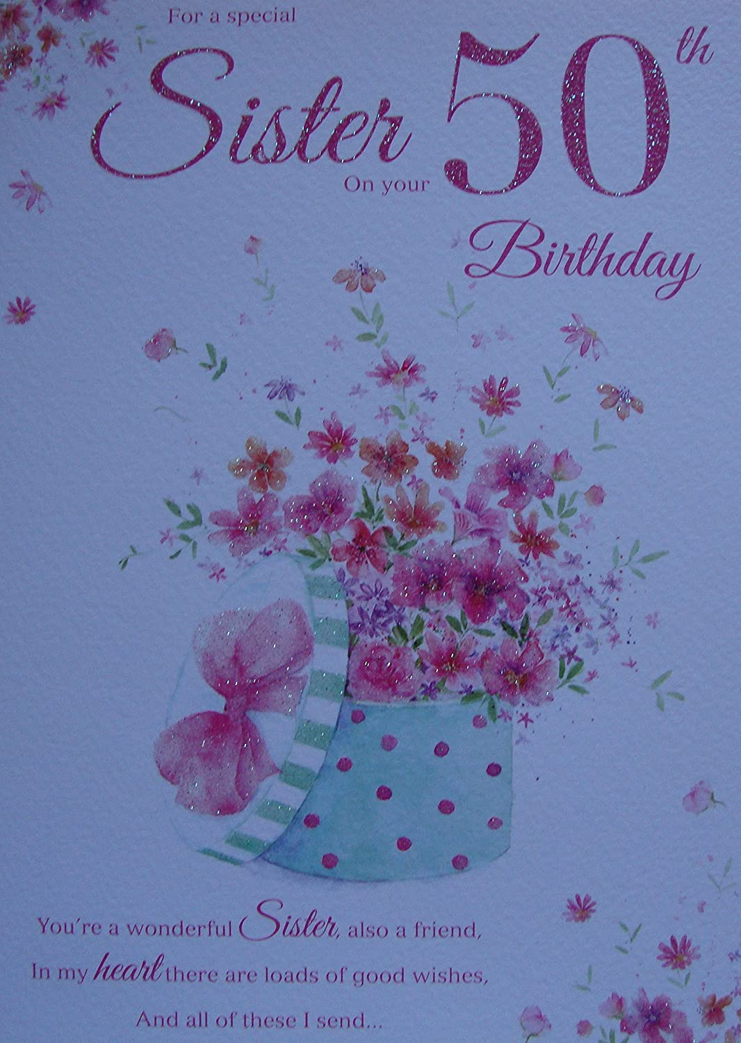 To A Lovely Sister 50th Birthday Card Quality Nice Verse Amazon – Verses for 50th Birthday Cards