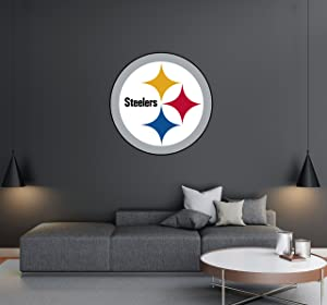 "Pittsburgh Steelers - Football Team Logo - Wall Decal Removable & Reusable For Home Bedroom (Wide 20""x20"" Height)"