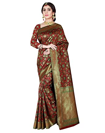 ed051751c09079 Viva N Diva Women s Maroon   Green Color Patola Silk Saree with Unstitched  Blouse ...