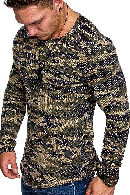 Amaci&Sons Camouflage Oversize Vintage Herren Pullover Hoodie Sweatshirt  Crew-Neck 6016 Camouflage Khaki M: Amazon.de: Bekleidung