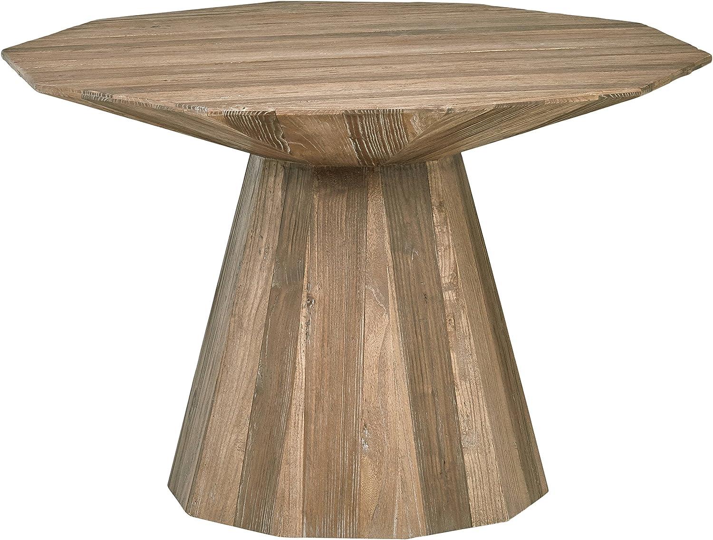 Rivet Modern Global Hexagonal Elm Dining Table, 47.2 Inch Wide, Natural Wood