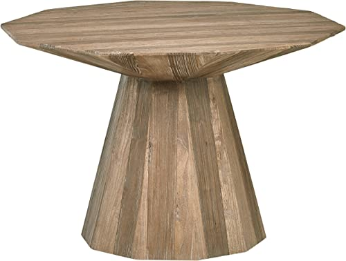 Rivet Modern Global Hexagonal Elm Dining Table, 47.2 Inch Wide, Natural Wood