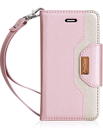 new product 320ca b41aa iPhone SE / 5S Case Cover, ProCase Wallet Flip Case, with Wristlet Strap,  Build-in Card Slots and Mirror, Stylish Slim Stand Cover for Apple iPhone  SE ...