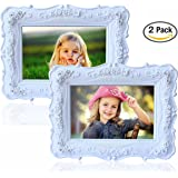 """Olivery Victorian Inspired Flower Photo Frame - 4"""" X 6"""" Easel Soft Velvet Back Floral Picture Frames - Hand-painted Resin & Glass Home Decor - Great Gift Idea, Wedding Gift & More (2 Packs)"""