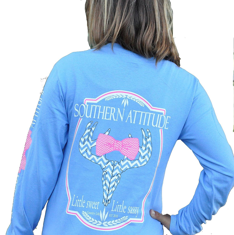 Southern Attitude Sassy Chevron Deer Skull Carolina Blue Long Sleeve Shirt