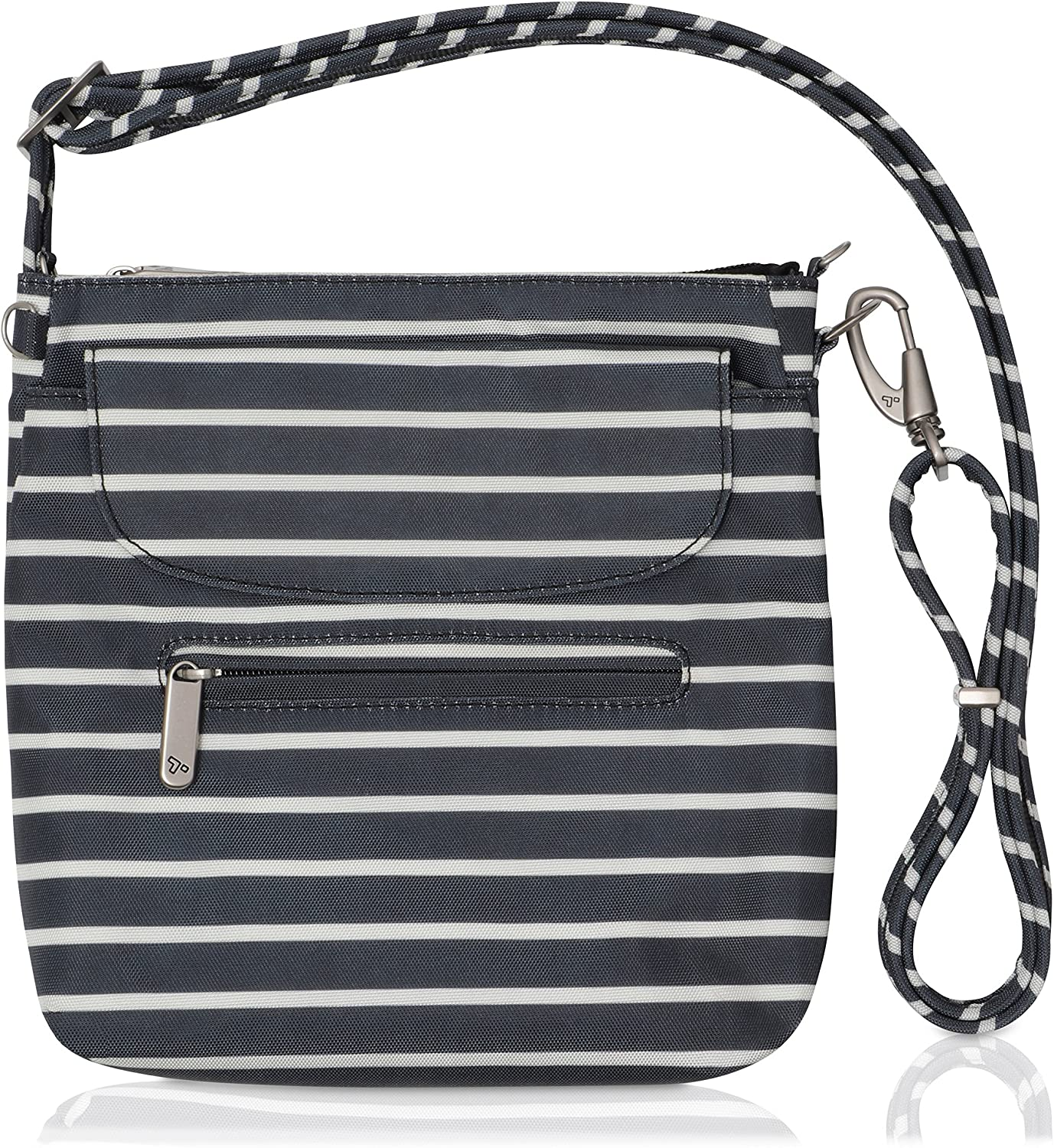 Travelon Anti-Theft Classic Mini Shoulder Bag (Black w/White Stripe - Exclusive Color)