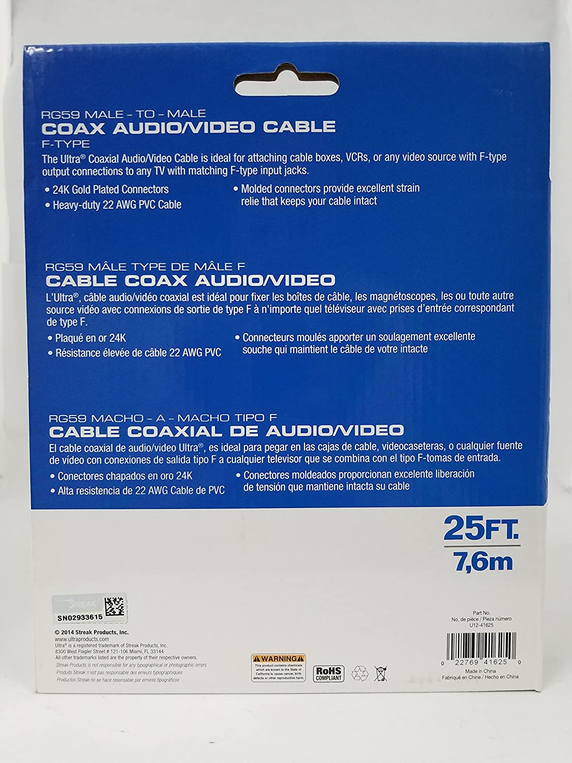 25 l coaxial cable de vídeo, 25