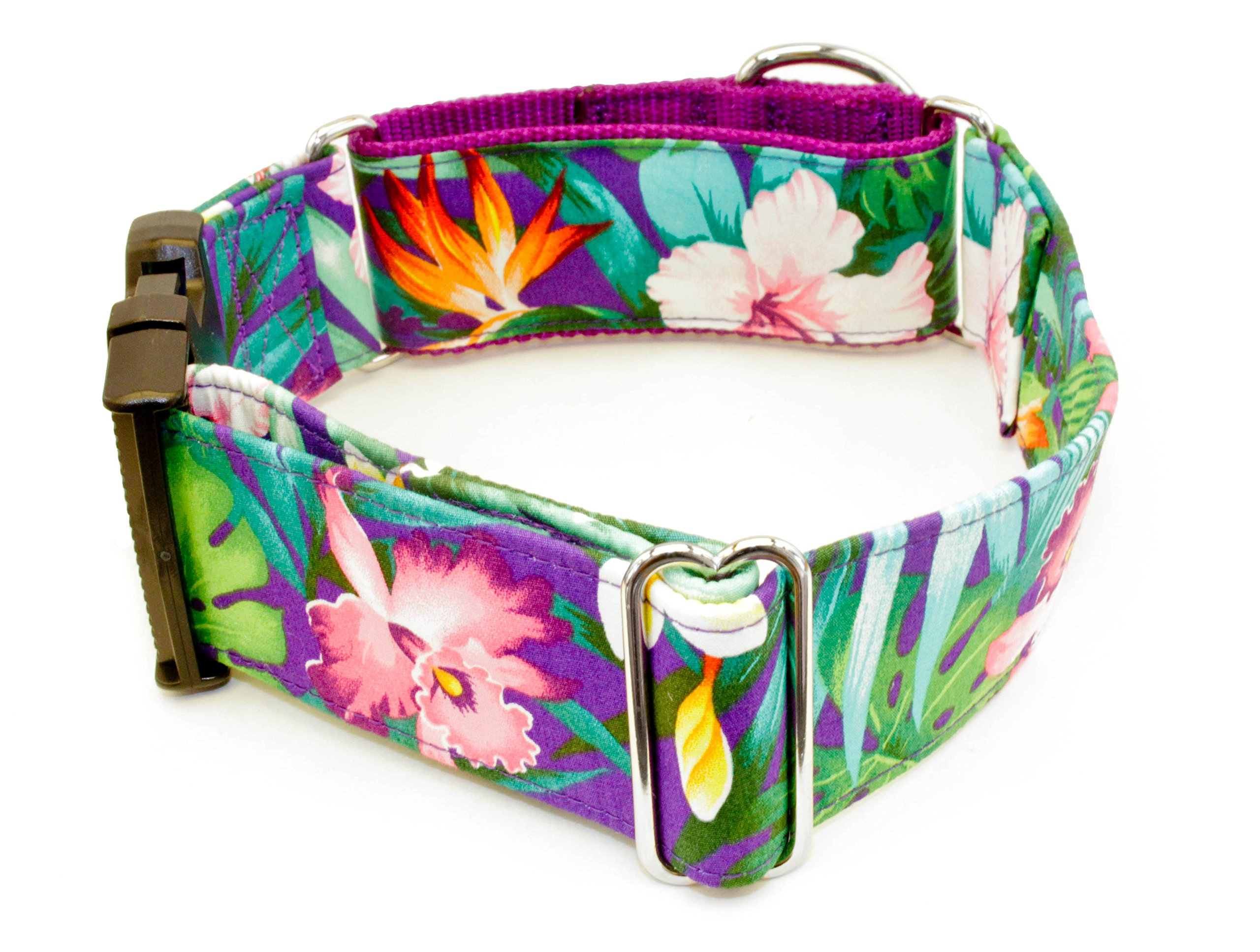 Caninus Collars Hawaiian Flowers Purple Dog Collar- 5/8''- 2'' Widths - XS-XXL - Martingale & Buckle (Martingale w/Buckle, L - 1'' Width)
