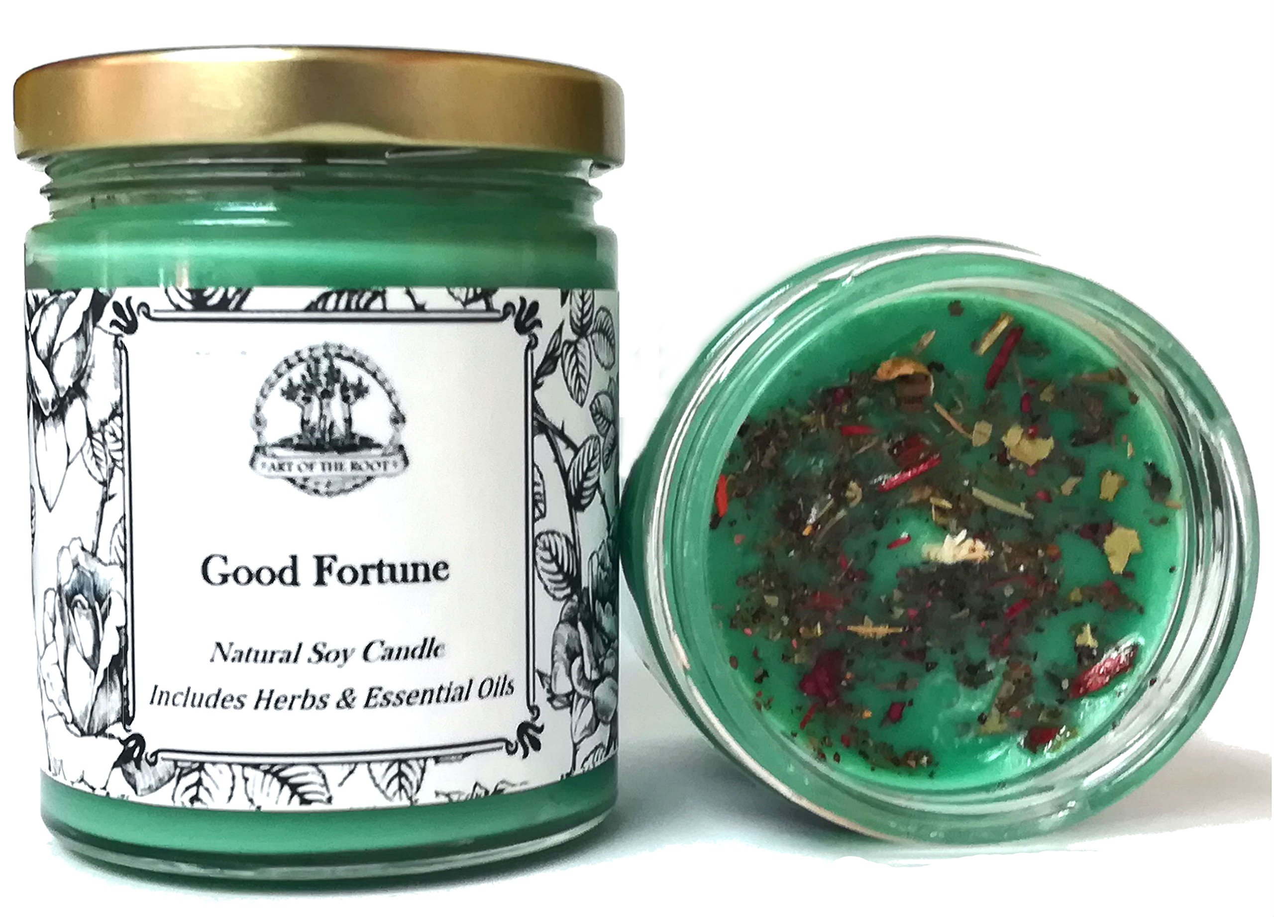 Good Fortune Soy Spell Candle 8 oz for Prosperity, Blessings, Healing & Abundance (Wiccan, Pagan, Hoodoo, Magick)