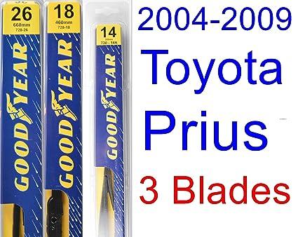 2004-2009 Toyota Prius Replacement Wiper Blade Set/Kit (Set of 3 Blades)  (Goodyear Wiper Blades-Premium) (2005,2006,2007,2008)