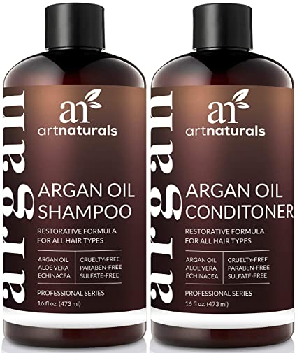 4. ArtNaturals Organic Moroccan Argan Oil Shampoo and Conditioner Set - Best Damage Repair Shampoo for Relaxed Hair