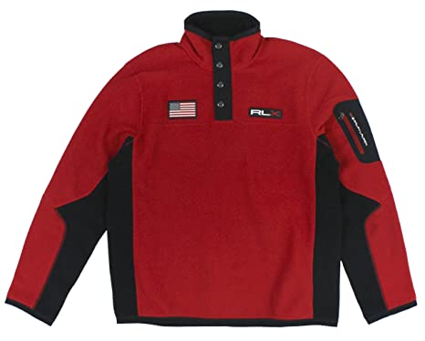 Polo Ralph Lauren RLX Mens Mock Neck Half Zip USA Fleece Jacket at
