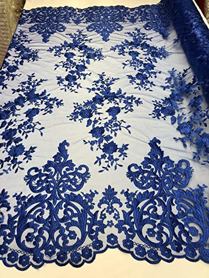 amazon com damask pattern embroidery lace with small flowers border