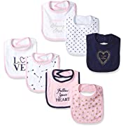 Hudson Baby Baby Cotton Drooler Bibs, 7 Pack, Love, One Size