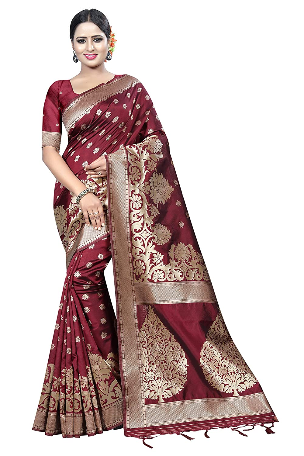 Vaividhyam Sarees Women's Cotton Silk Saree With Blouse Piece