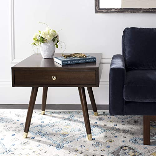 Editors' Choice: Safavieh Home Levinson Mid-Century Modern Brown and Gold Cap 1-drawer End Table