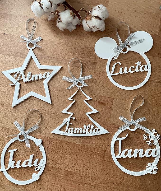 Hari happy Bolas Navidad Personalizadas 3D Blancas: Amazon.es: Hogar
