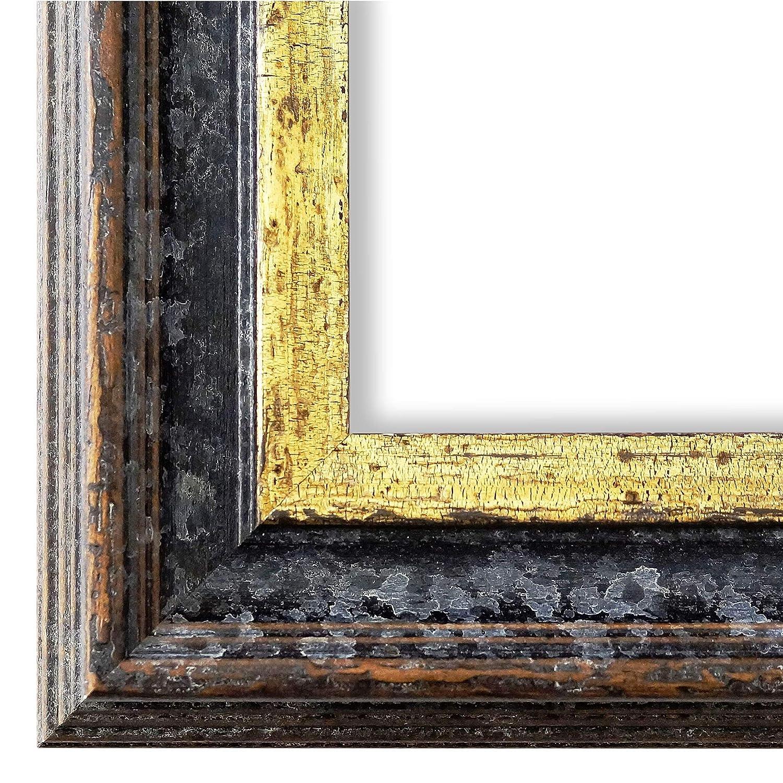 Online Galerie Bingold Bilderrahmen Schwarz Gold 30x40-30 x 40 cm - Antik, Barock - Alle Größen - Handgefertigt in Deutschland - WRF - Trento 5,4