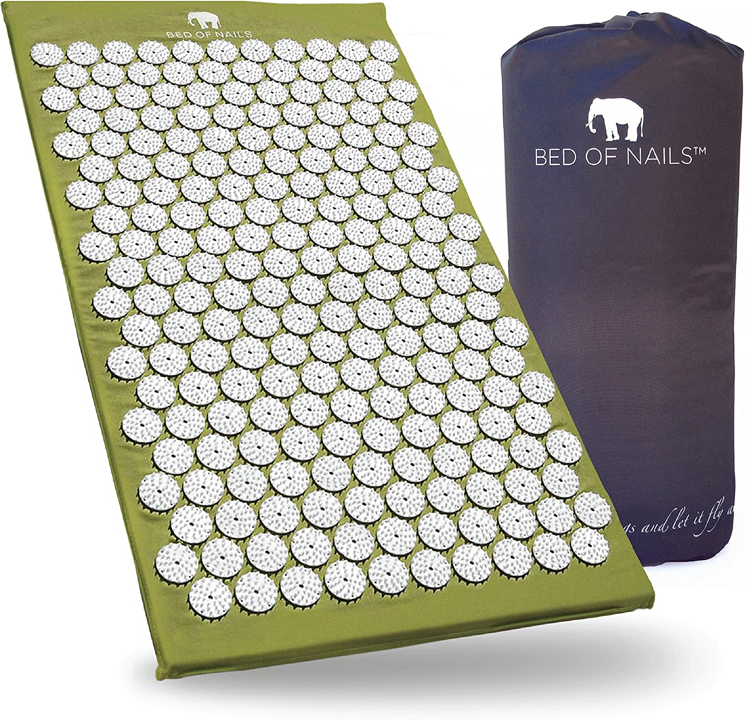 Bed of Nails, Green Original Acupressure Mat for Back/Body Pain Treatment, Relaxation, Mindfulness: Health & Personal Care